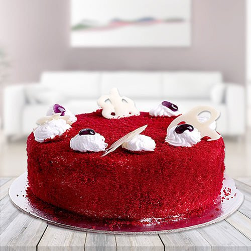 Red velvet Cake Online with Way to flowers