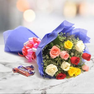 Sweet Mix Roses 12 mix roses with 2 fruit n nut chocolate - Online Flowers Delivery In Kalka