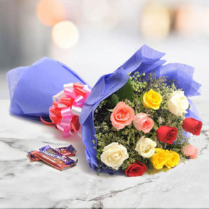 Sweet Mix Roses 12 mix roses with 2 fruit n nut chocolate - Send Flowers to Jalandhar