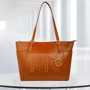 MK Zinnia Studdedtan Color Bag - Branded Handbags Online