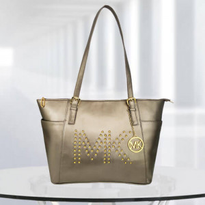 MK Zinnia Studded Gun Metal Color Bag - Branded Handbags Online