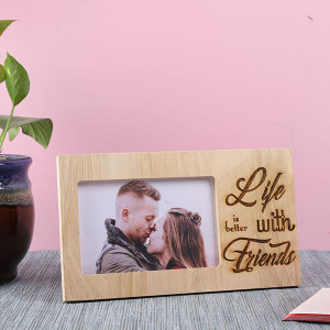 Life With Friends Wooden Frame - Personalised Photo Gifts Online