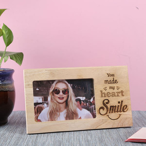 Customised Smile Wooden Frame - Personalised Photo Frames Gifts