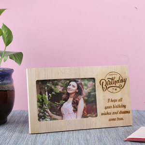 Customised Happy Birthday Wooden Frame - Personalised Photo Gifts Online