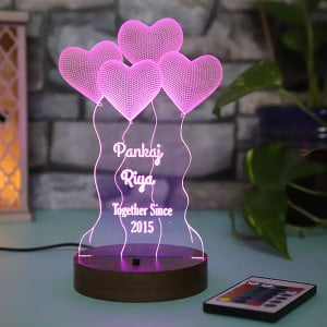 Personalised Hearts Led Lamp - Personalised Photo Lamps