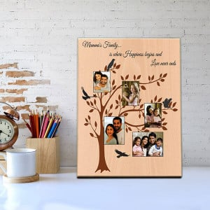 Family Tree Wooden Photo Frame - Personalised Photo Frames Gifts