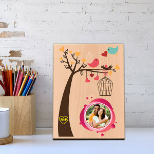 Love Birds Wooden Photo Frame - Personalised Engraved