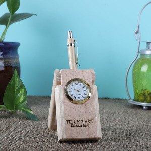 Wooden Pen Holder Clock - Personalised Photo Gifts Online