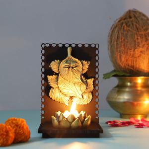 Leaf Ganesha T Light Holder - Online Home Decor Items