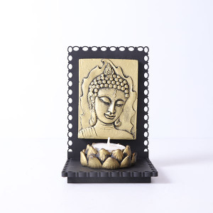 Lord Buddha Idol With Wooden Base And T Light Holder - Online Home Decor Items