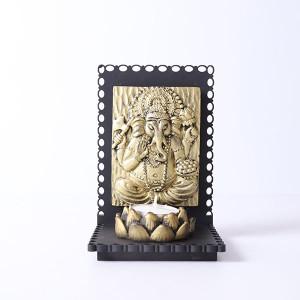 Vamamukhi Ganesha Idol With Wooden Base And T Light Holder - Online Home Decor Items