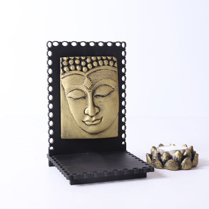 Buddha Idol With Wooden Base And T Light Holder - Online Home Decor Items