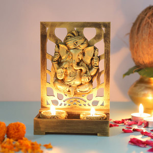 Ganesha Cute T Light Holder - Online Home Decor Items