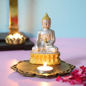 Silver Meditating Buddha With Decorative Wooden Base And T Light - Online Home Decor Items