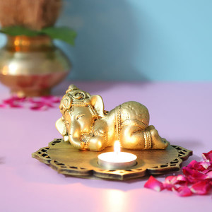 Sleeping Ganesha Idol With Decorative Wooden Base And T Light - Online Home Decor Items