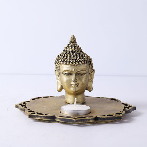 Buddha Head Idol With Decorative Wooden Base And T Light - Online Home Decor Items