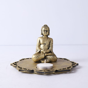 Buddha With Decorative Wooden Tray Base And T Light - Online Home Decor Items