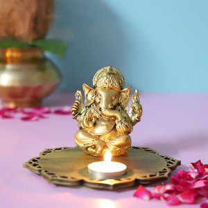 Siddhi Ganesha With Decorative Wooden Tray Base And T Light - Online Home Decor Items