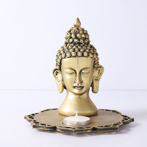 Buddha Head With Decorative Wooden Tray And T Light - Online Home Decor Items