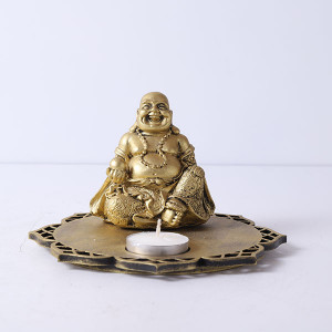 Laughing Buddha In A Wooden Tray - Online Home Decor Items