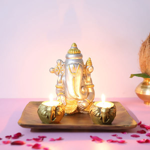 Ganesha In A Wooden Tray - Online Home Decor Items