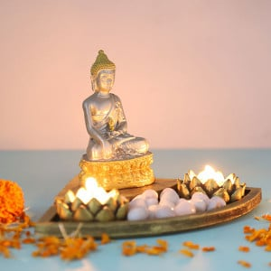 Buddha With T Light Holder - Send Candles Online