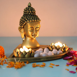 Elegant Buddha God Head In An Oval Shape Tray - Online Home Decor Items