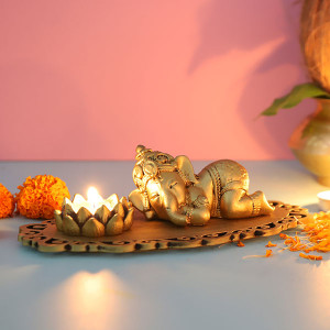 Cute Sleeping Ganesha In A Decorated Tray - Online Home Decor Items