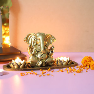 Ganesh Ji T Light Holder In An Oval Shape Tray - Send Candles Online