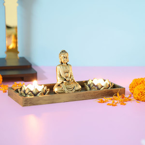 Meditating Buddha With T Light Holder - Send Candles Online