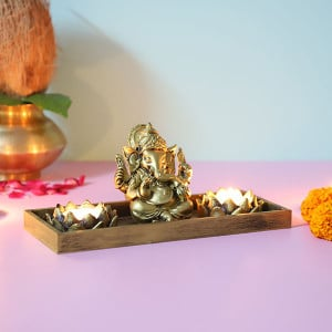 Ganpati With T Light Holde - Online Home Decor Items