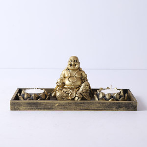 Laughing Buddha With T Light Holder - Send Candles Online