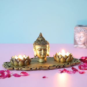 Buddha God Head With T Light Holders - Send Candles Online
