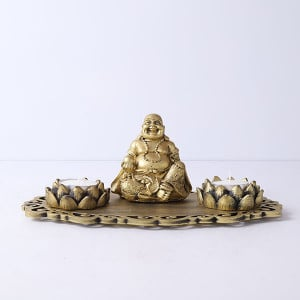 Laughing Buddha With Lotus Shape T Light Holders And Decorative Tray - Send Candles Online