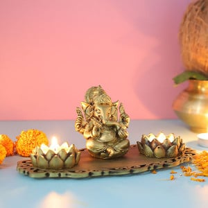 Ganpati Decorative T Light Holder - Send Candles Online