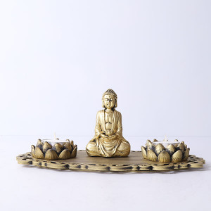 Meditating Buddha With Lotus Shape T Light Holder - Send Candles Online