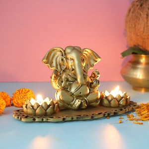 Ganpati With Lotus Shape T Light Holder - Send Candles Online