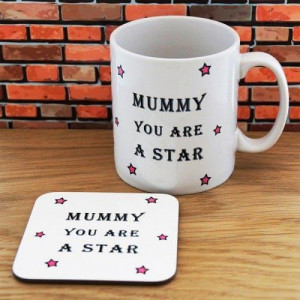 Personalised Mummy Star Mug & Coaster Set - Mugs