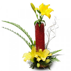 Sunshine 6 Yellow Lilies - Flower Basket Arrangements Online