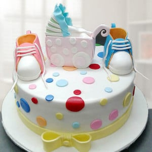 Booties Baby Shower Cake - Send Baby Shower Cakes Online