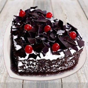 Heart Shape Black Forest Cake - Online Christmas Gifts Flowers Cakes