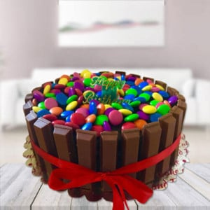 Kit Kat Gems Cake - Send Eggless Cakes Online