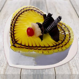 Lovely Pineapple Heart Shape Cake - Birthday Gifts Online