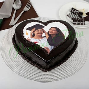 Heart Shaped Mothers Day Photo Cake Eggless - Send Black Forest Cakes Online