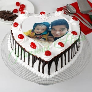Black Forest Cream Photo Cake for Dad - Birthday Cake Delivery in Noida