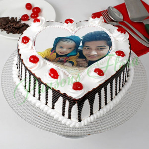 Black Forest Cream Photo Cake for Dad - Send Heart Shaped Cakes Online
