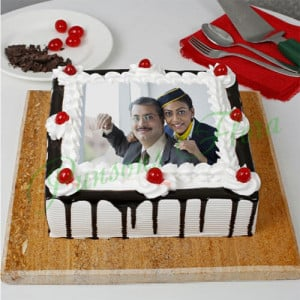 The Black Forest Special Fathers Day Photo Cake - Send Eggless Cakes Online