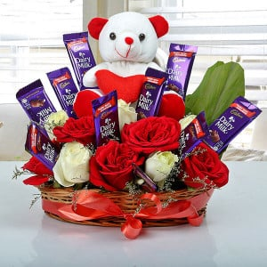Astonishment Arrangement - Flowers with Soft Toys online