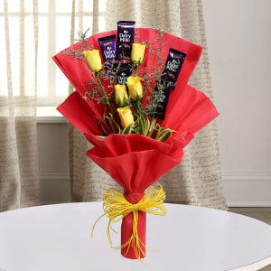 Roses with Cadbury - Marriage Anniversary Gifts Online