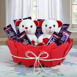 Cute Surprise Basket - Valentine's Day Flowers and Chocolates